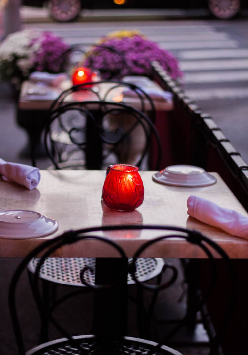 candle on table
